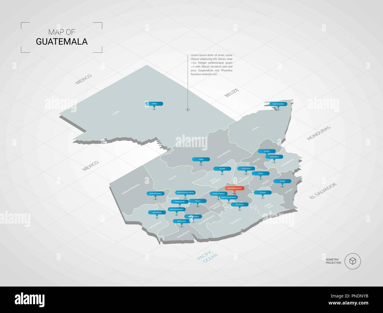 Isometric 3D Guatemala map. Stylized vector map illustration with ...