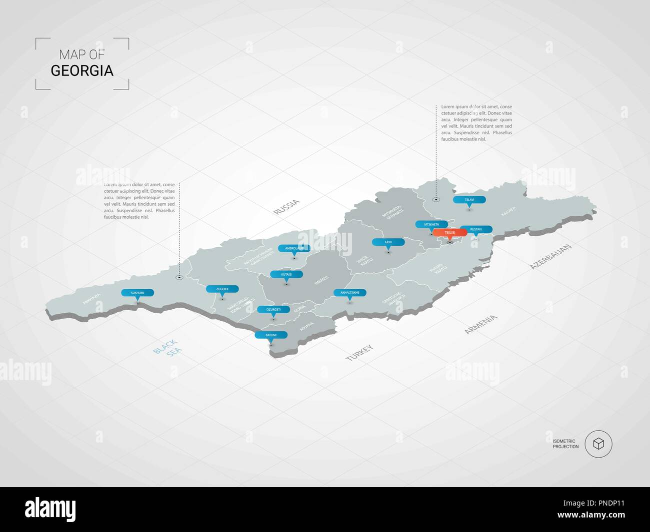 Map Of The Cities In Georgia.Isometric 3d Georgia Map Stylized Vector Map Illustration With