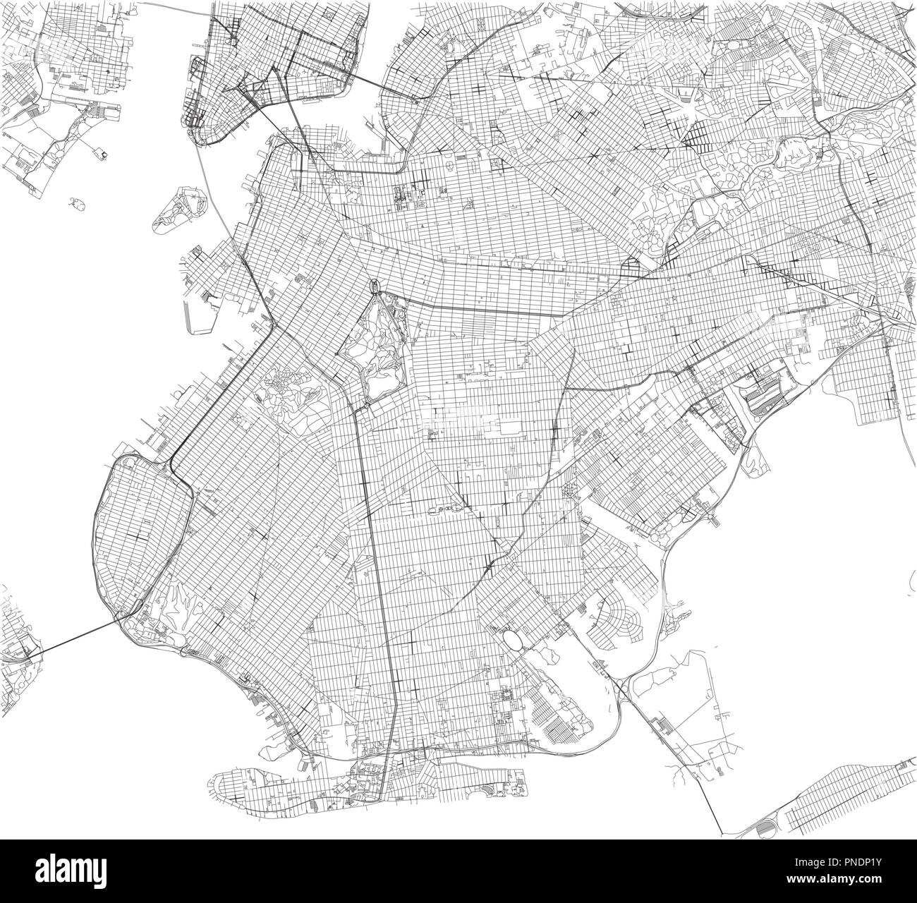 Map Of Usa Vector.Brooklyn Map New York City Streets And District City Map Usa