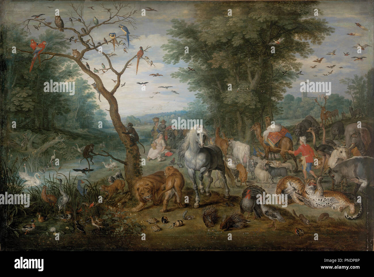 Paradise Landscape with Animals. Date/Period: From 1613 until 1615. Painting. Oil on panel. Height: 610 mm (24.01 in); Width: 902 mm (35.51 in). Author: Brueghel the Elder, jan. JAN BRUEGHEL, THE ELDER. Jan Snellink II. - Stock Image