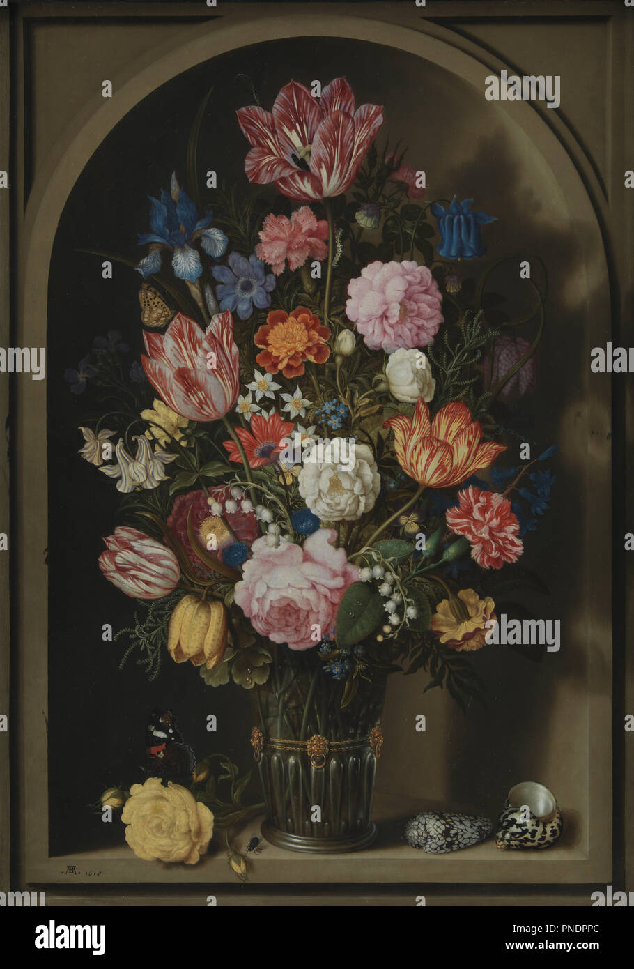Bouquet of Flowers in a Stone Niche. Date/Period: 1618. Painting. Oil on copper. Height: 555 mm (21.85 in); Width: 395 mm (15.55 in). Author: Ambrosius Bosschaerts the Elder. Bosschaert, Ambrosius, the Elder. - Stock Image