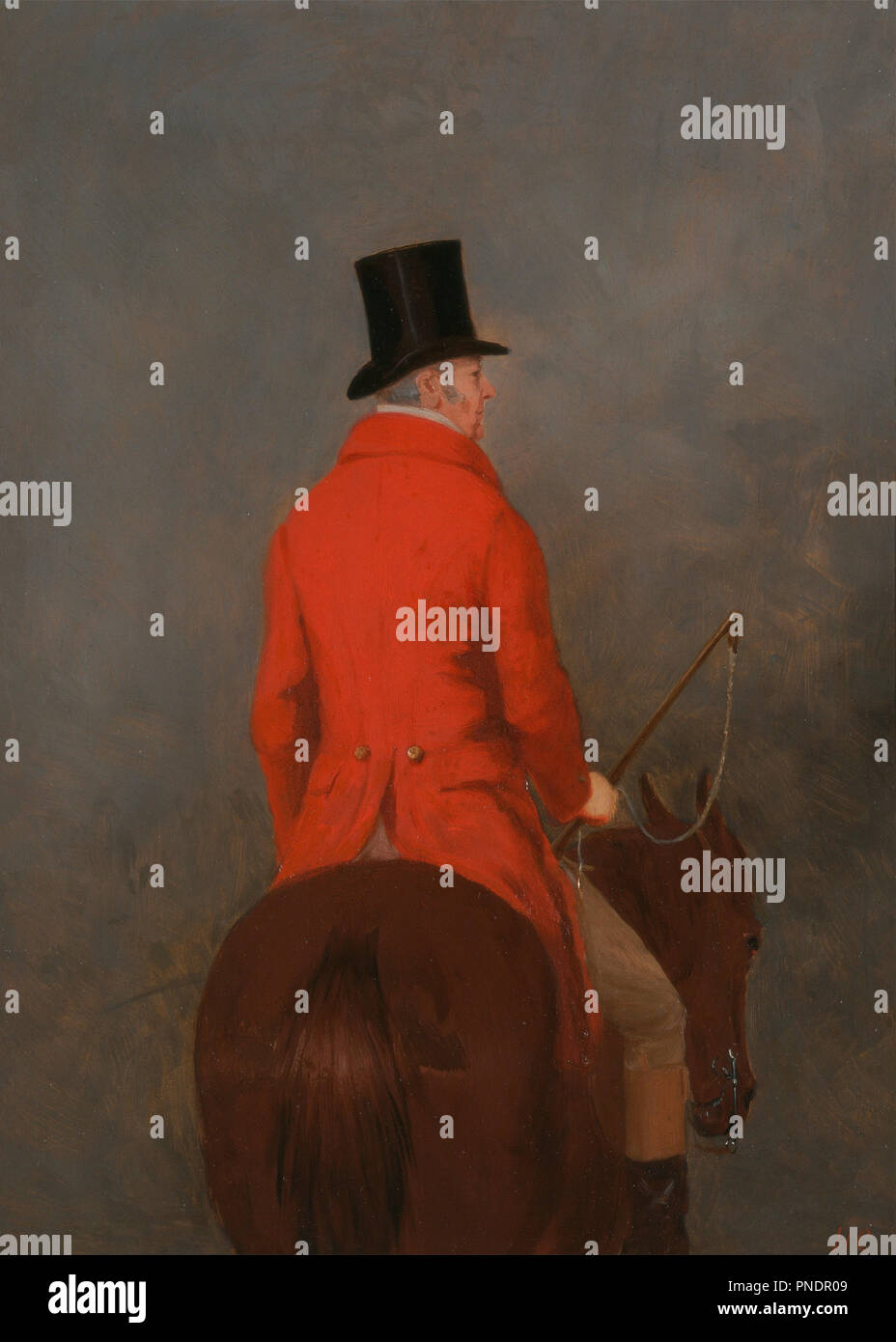 Portrait of Thomas Cholmondeley, 1st Lord Delamere, on His Hunter (study for 'The Cheshire Hunt at Tatton Park'). Date/Period: Ca. 1839. Painting. Oil on panel. Height: 406 mm (15.98 in); Width: 305 mm (12 in). Author: Henry Calvert. - Stock Image