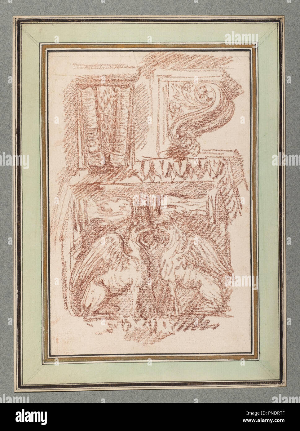 Drawings after Ornament and Architecture. Date/Period: After 1759. Book. Red chalk on off-white laid paper. Author: Jean-Robert Ango. - Stock Image