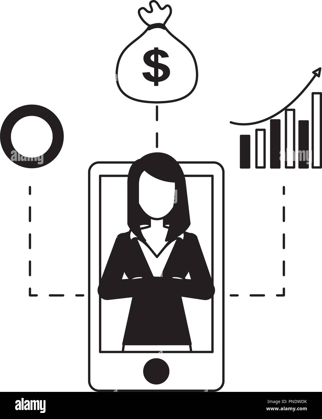 businesswoman and smartphone money bag diagram coin - Stock Vector