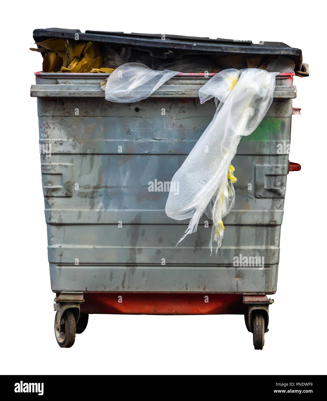 Isolated Grungy Wheelie Recycling Or Trash Can (Bin) On A White Background - Stock Image