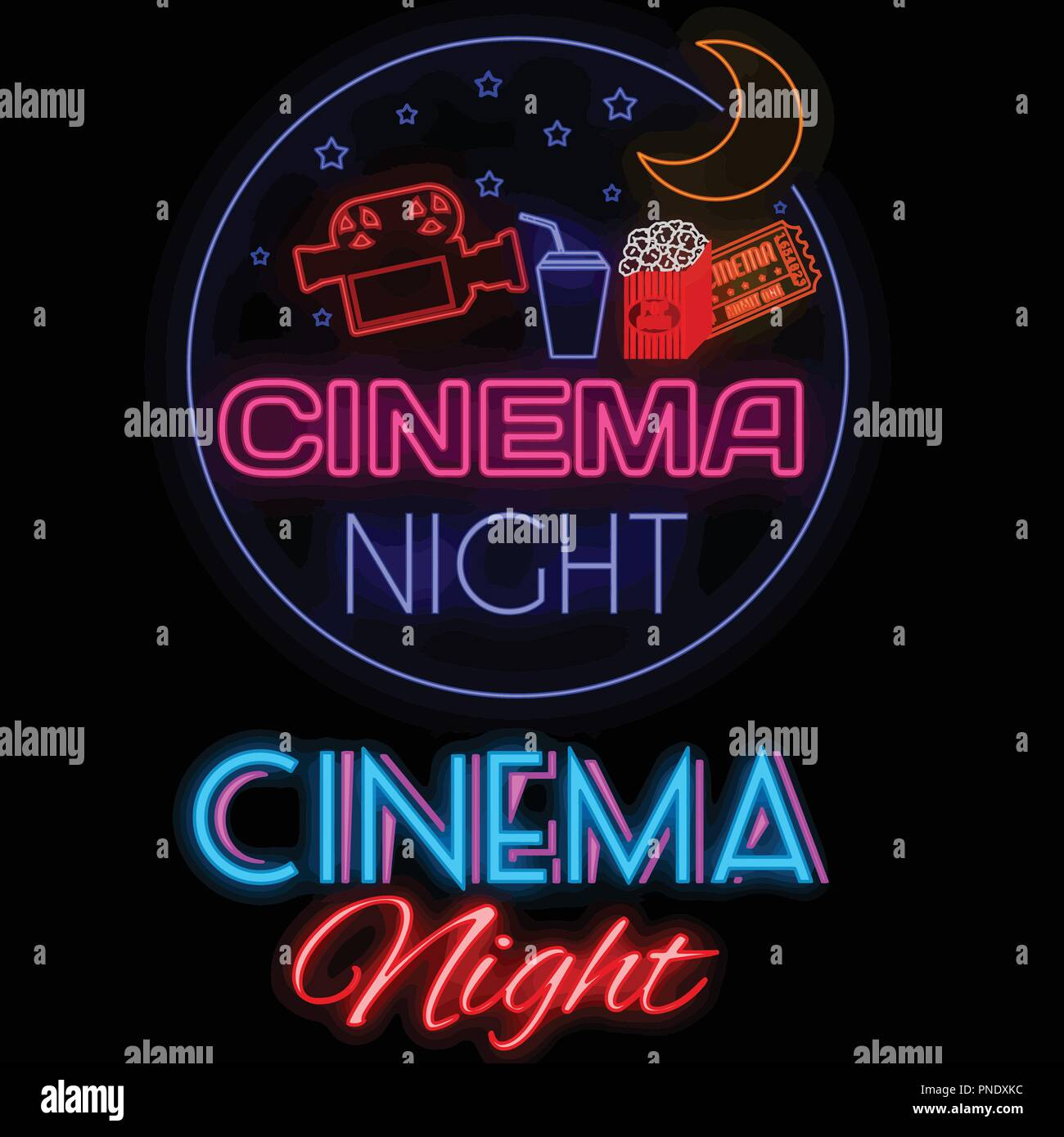 Cinema night glowing neon sign on black background, vector illustration - Stock Vector