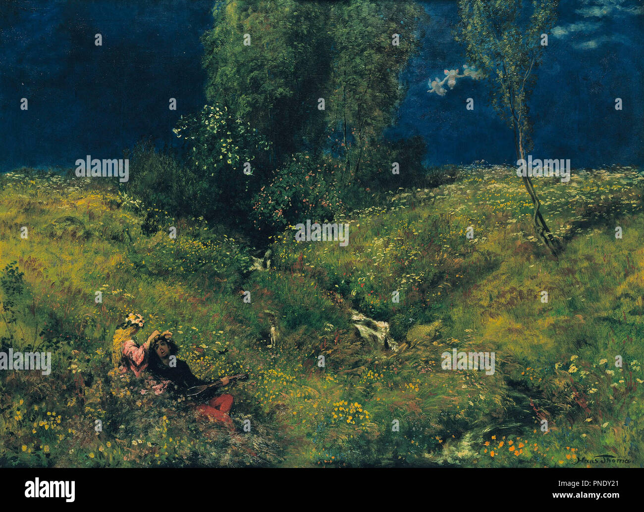 Summer. Date/Period: 1872. Painting. Oil on canvas. Height: 76 cm (29.9 in); Width: 104 cm (40.9 in). Author: Hans Thoma. THOMA, HANS. - Stock Image