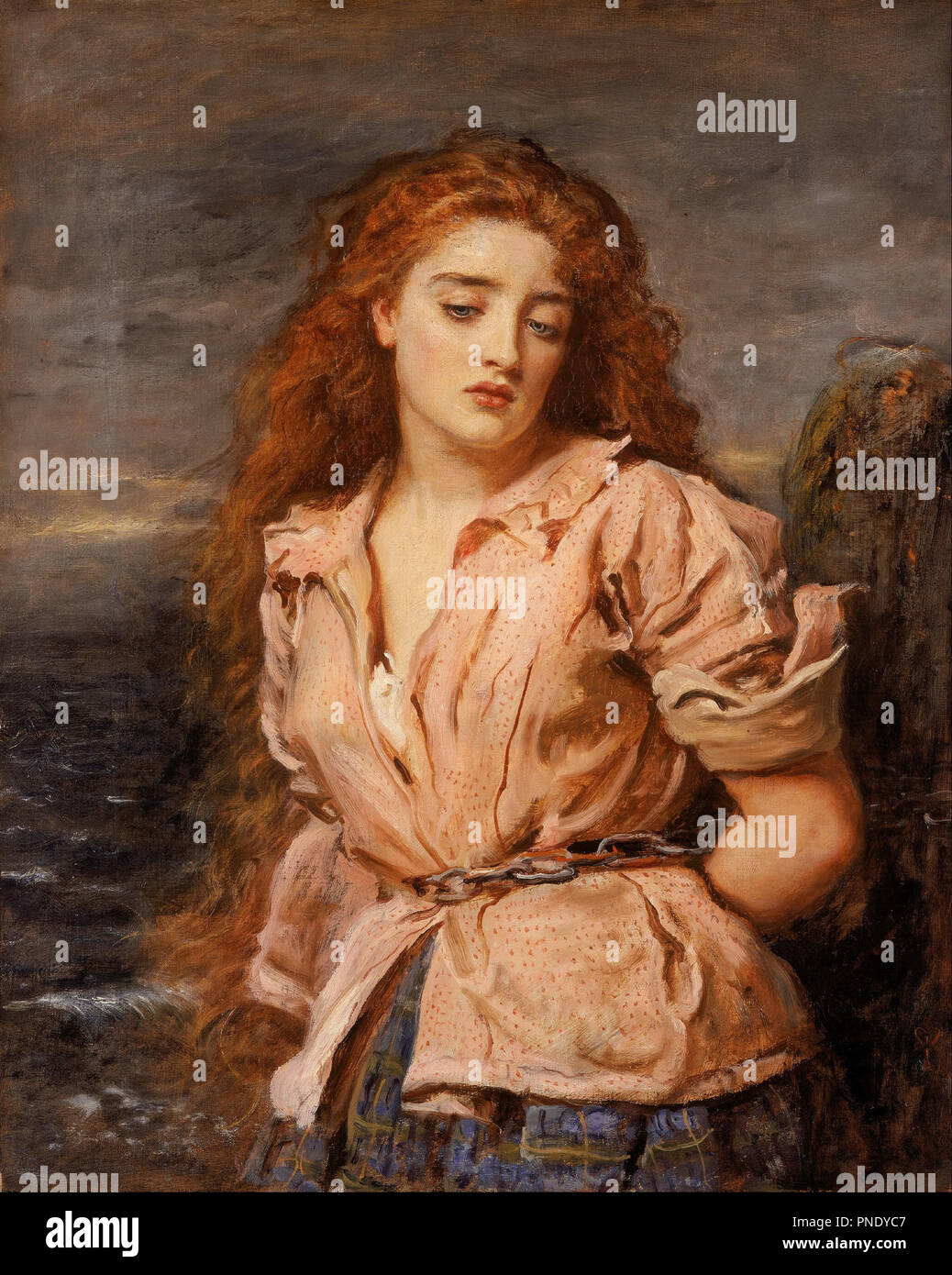 The Martyr of the Solway. Date/Period: Ca. 1871. Painting. Oil on canvas. Height: 705 mm (27.75 in); Width: 565 mm (22.24 in). Author: JOHN EVERETT MILLAIS. - Stock Image