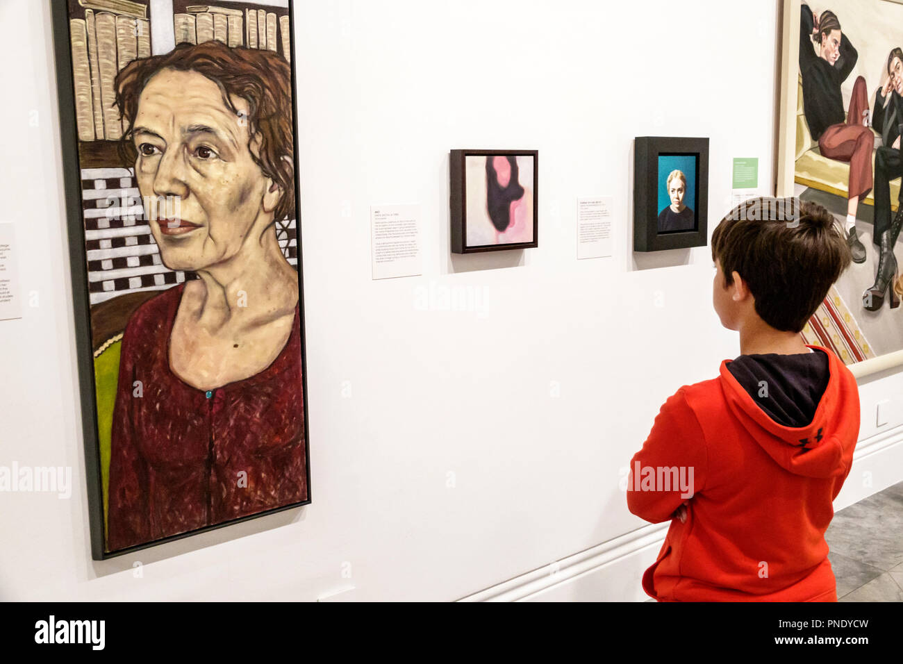 London England Great Britain United Kingdom Covent Garden National PortraitGallery art museum interior BP Portrait Award exhibition painting Claire To - Stock Image