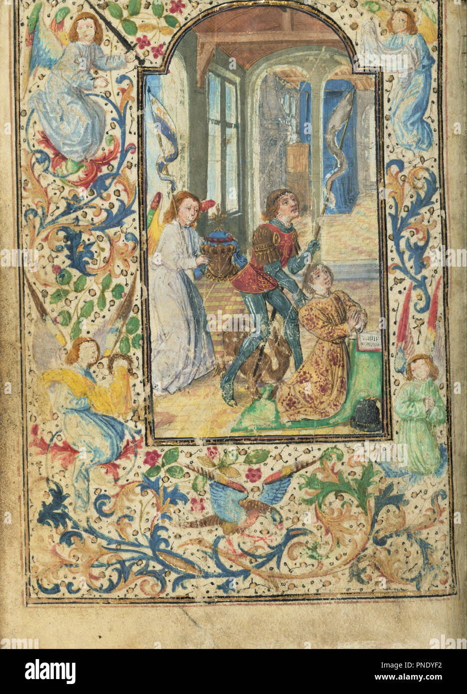 Charles the Bold Presented by Saint George. Date/Period: Ca. 1471. Folio. Tempera colors, gold leaf, gold paint, silver paint, and ink on parchment. Height: 124 mm (4.88 in); Width: 92 mm (3.62 in). Author: Lieven van Lathem. Stock Photo