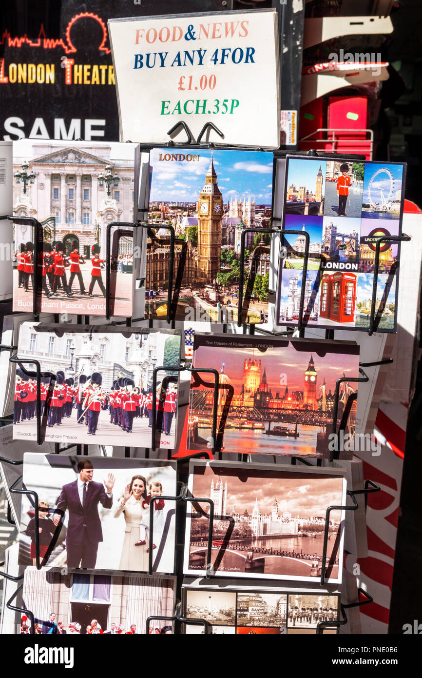 London England Great Britain United Kingdom Leicester Square Food & and News newsstand souvenir shop postcard display sale Stock Photo