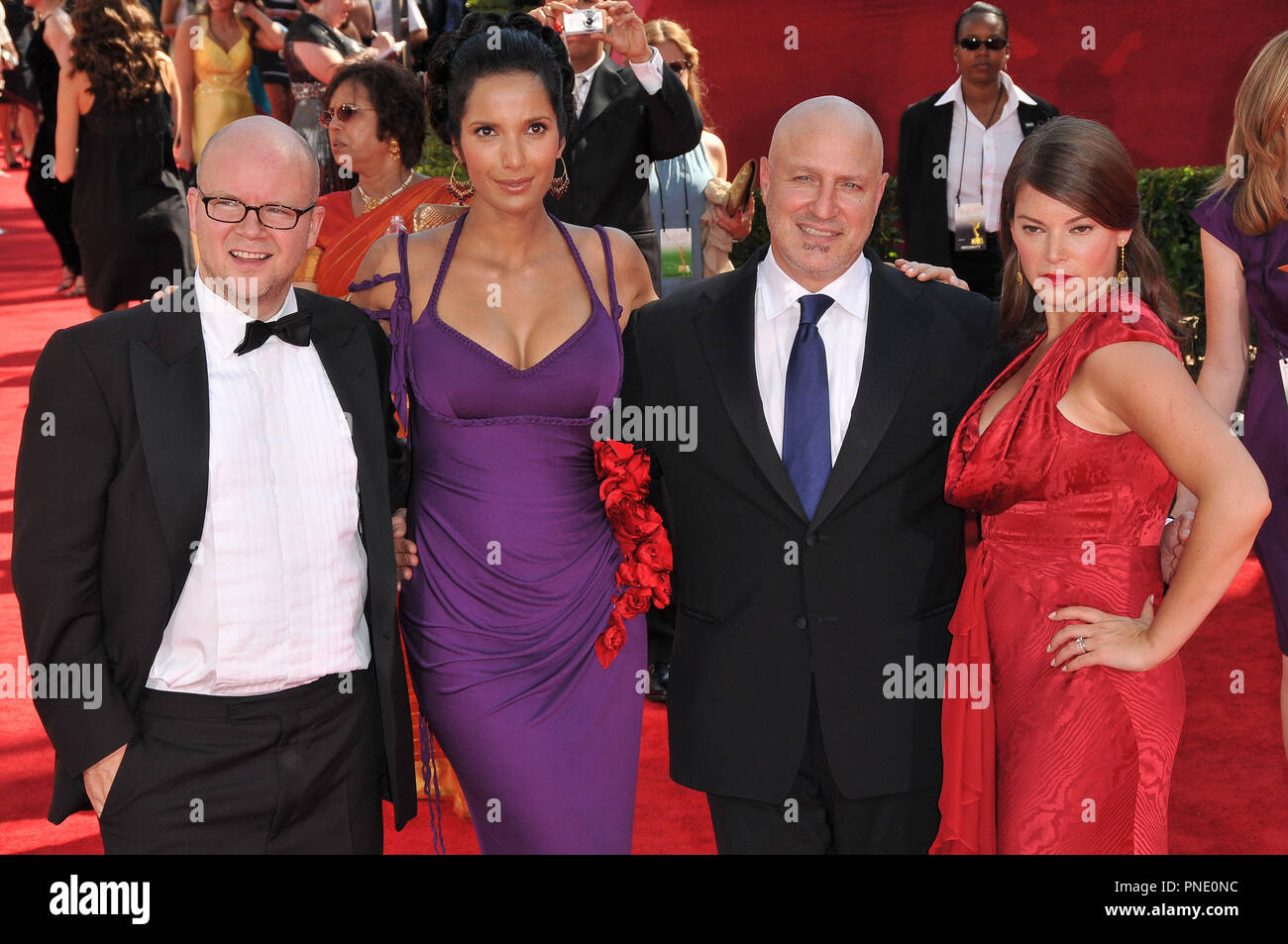TOP CHEF Cast -Toby Young, Padma Lakshmi, Tom Colicchio & Gail Simmons at the 61st Annual Primetime Emmy Awards - Arrivals held at the Nokia Theater in Los Angeles, CA on Sunday, September 20, 2009. Photo by: PRPP / PictureLux  File Reference # Top_Chef_Cast_92009_1PRPP  For Editorial Use Only -  All Rights Reserved - Stock Image