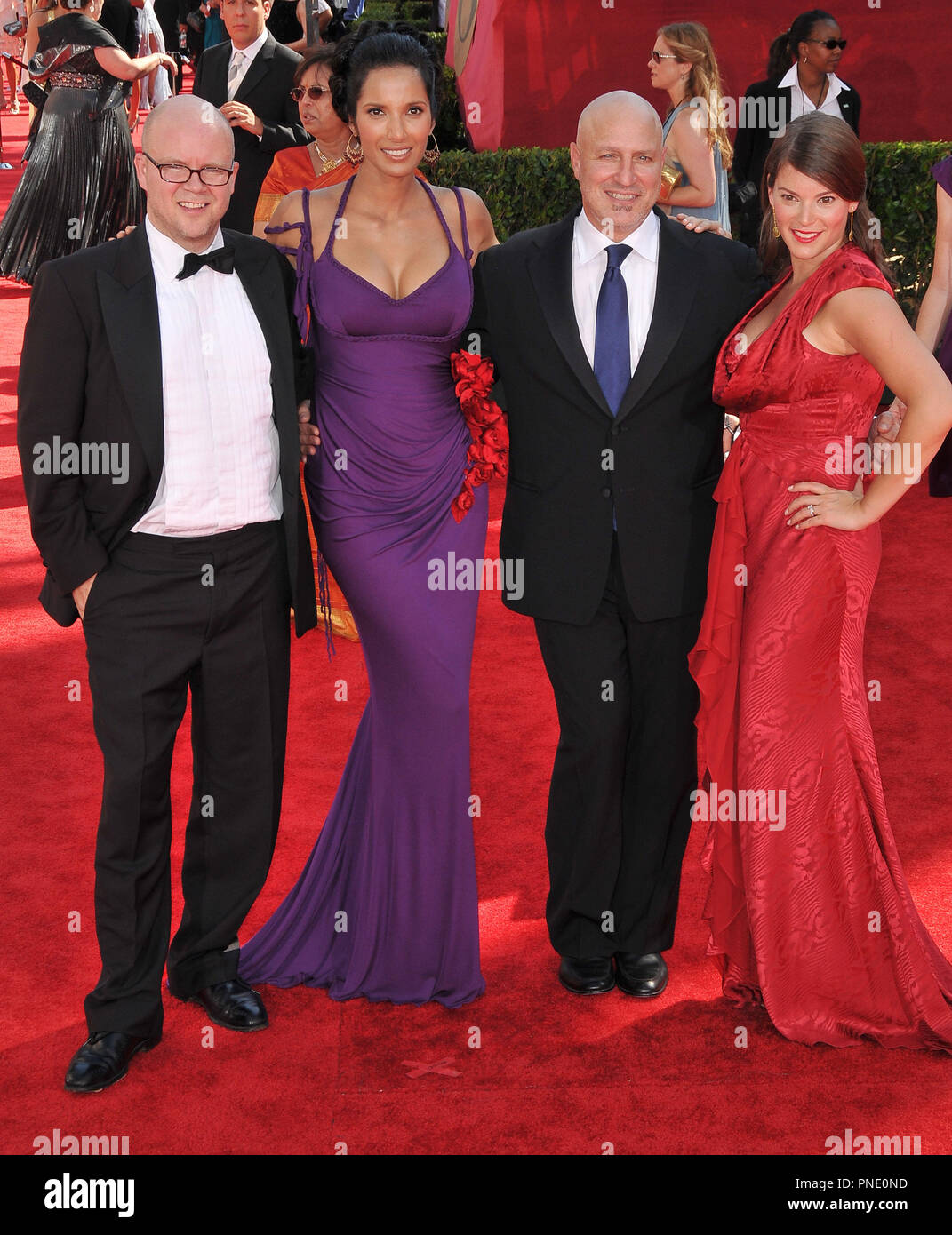 TOP CHEF Cast -Toby Young, Padma Lakshmi, Tom Colicchio & Gail Simmons at the 61st Annual Primetime Emmy Awards - Arrivals held at the Nokia Theater in Los Angeles, CA on Sunday, September 20, 2009. Photo by: PRPP / PictureLux  File Reference # Top_Chef_Cast_92009_2PRPP  For Editorial Use Only -  All Rights Reserved - Stock Image