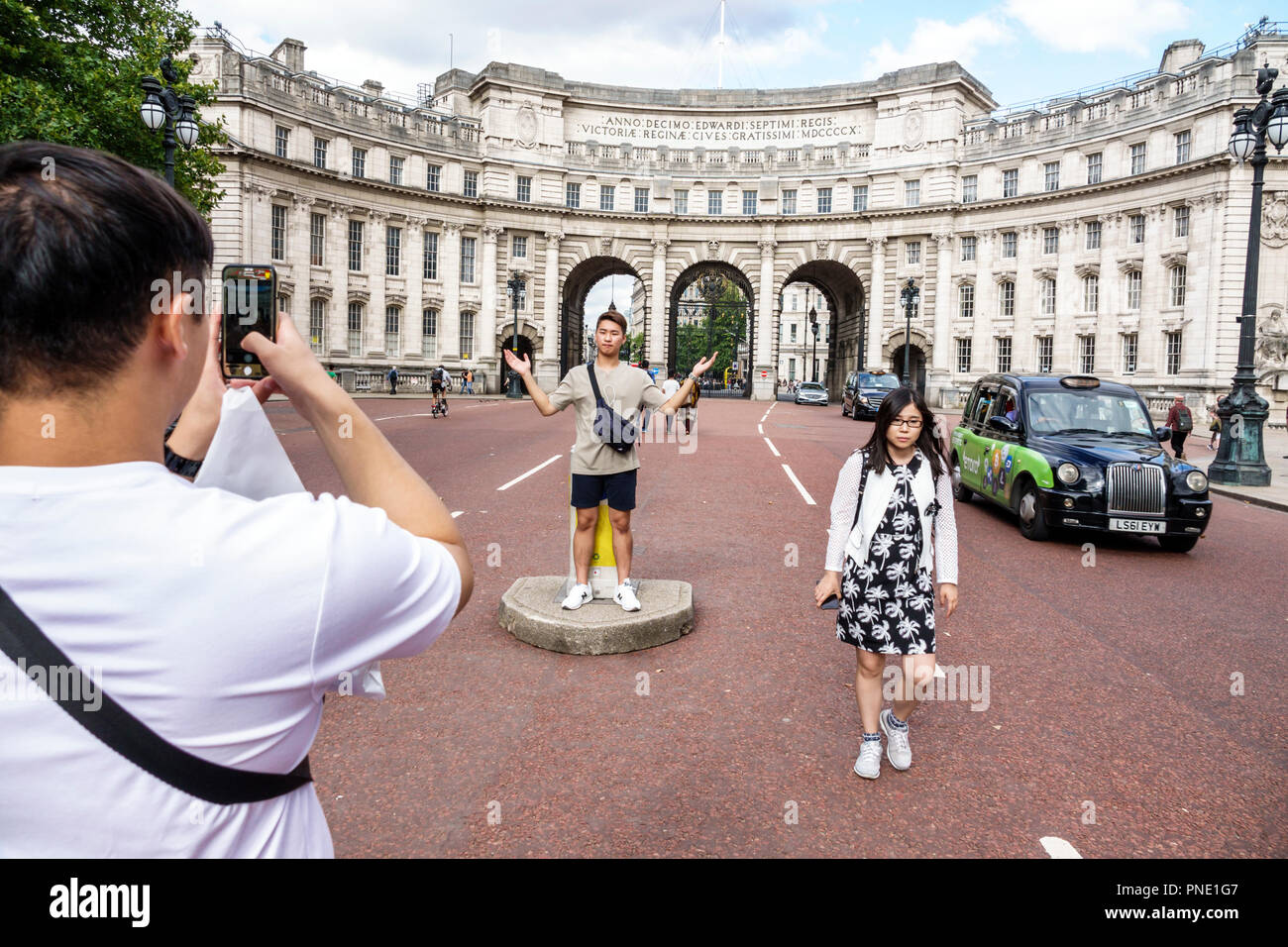 London England Great Britain United Kingdom St. Saint James's The Mall Admiralty Arch landmark historic building archway ceremonial road gateway Aston - Stock Image