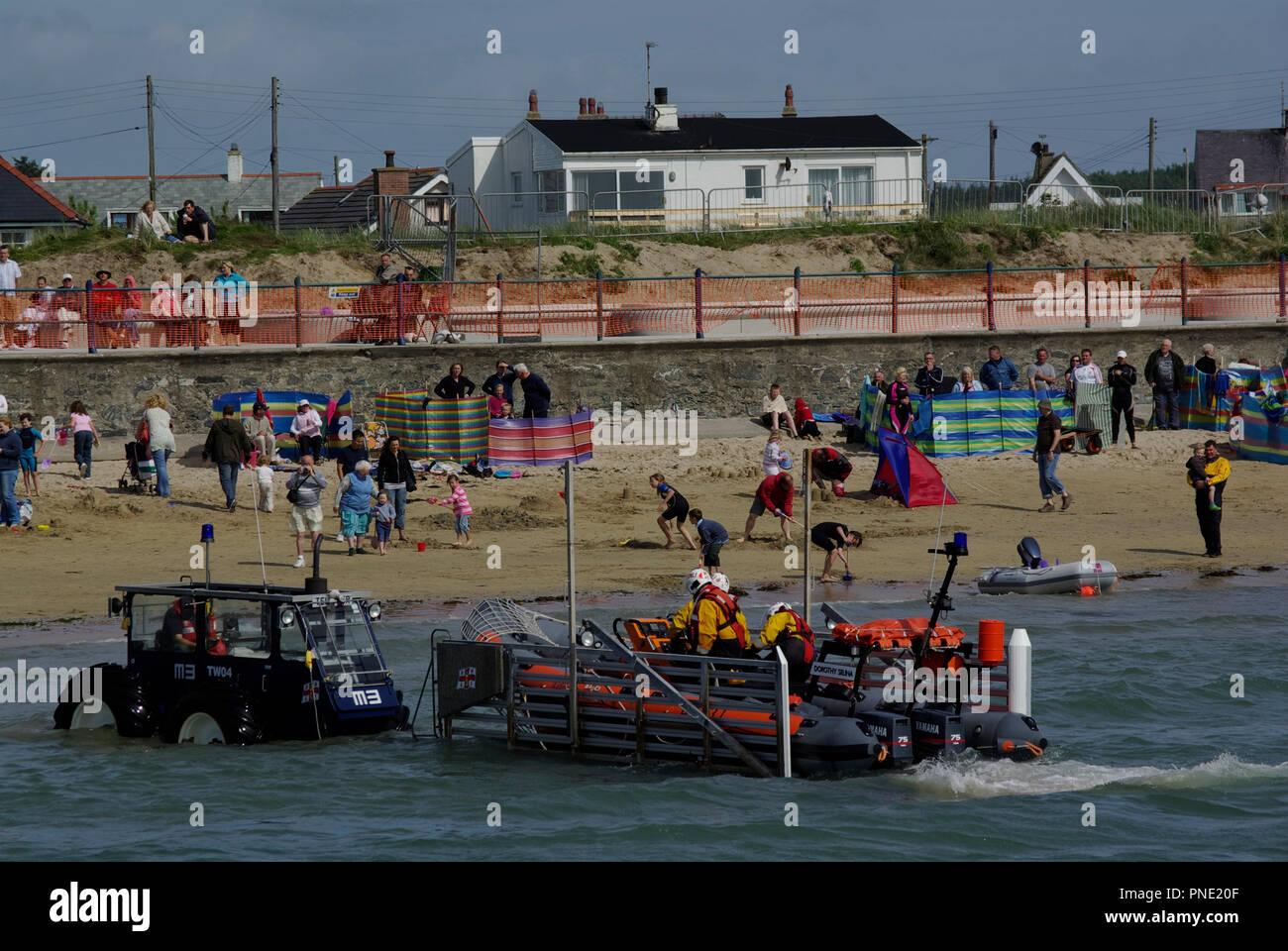 Trearddur Bay Lifeboat Launching - Stock Image