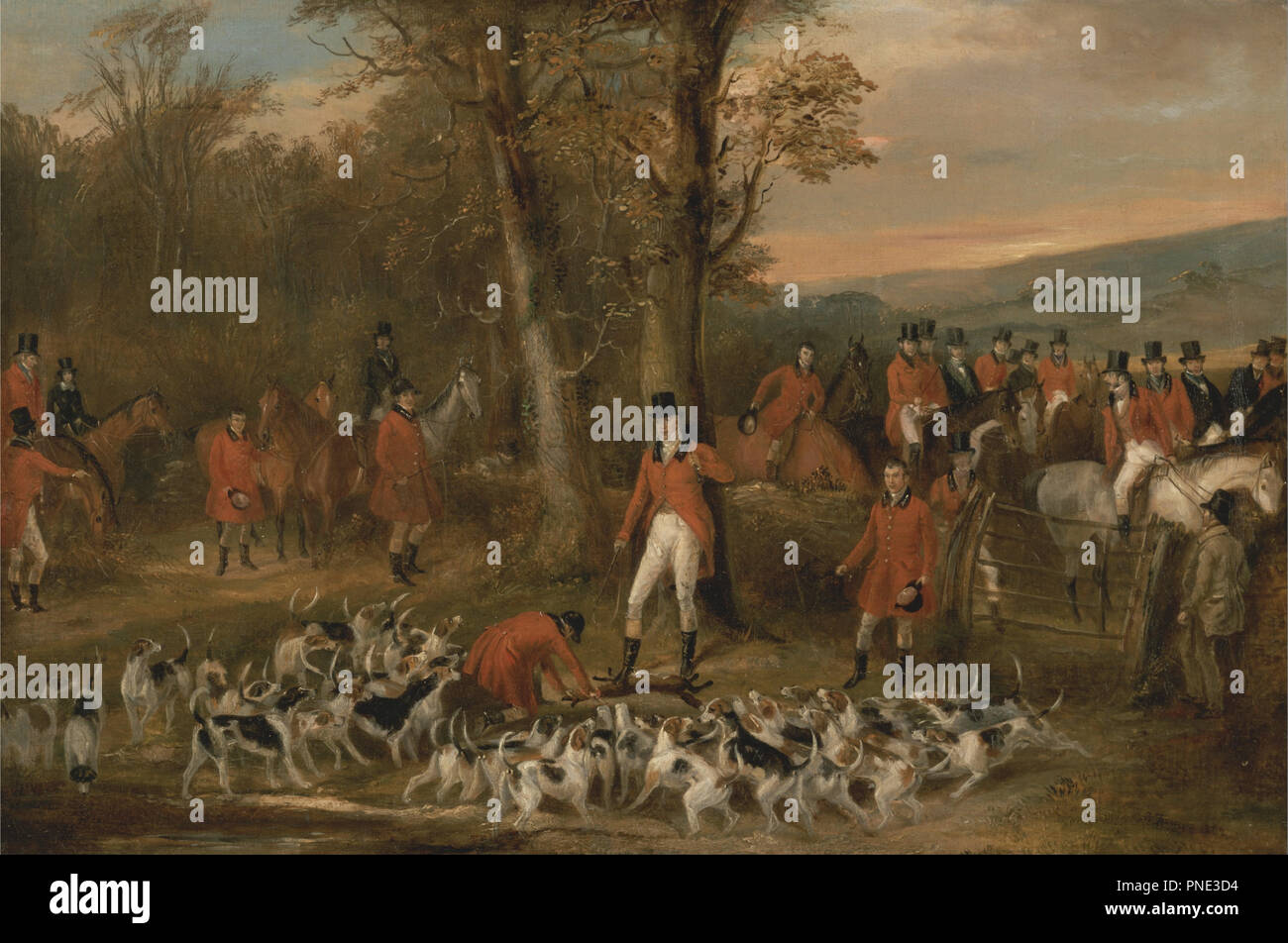 The Berkeley Hunt, 1842: The Death. Date/Period: 1842. Painting. Oil on canvas. Height: 406 mm (15.98 in); Width: 610 mm (24.01 in). Author: FRANCIS CALCRAFT TURNER. Stock Photo