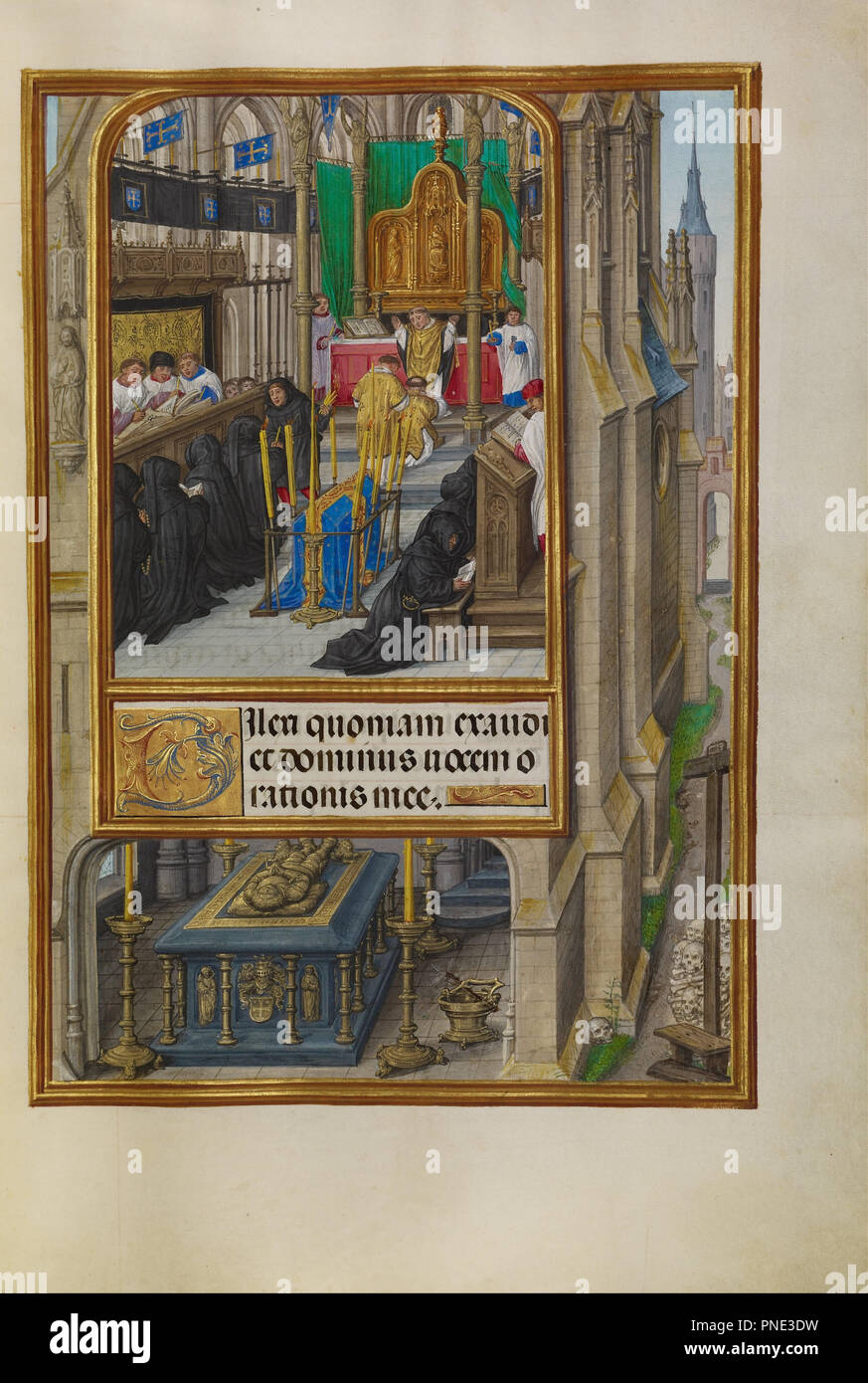 Office of the Dead. Date/Period: Ca. 1510 - 1520. Folio. Tempera colors, gold, and ink on parchment. Height: 232 mm (9.13 in); Width: 167 mm (6.57 in). Author: Master of James IV of Scotland. - Stock Image