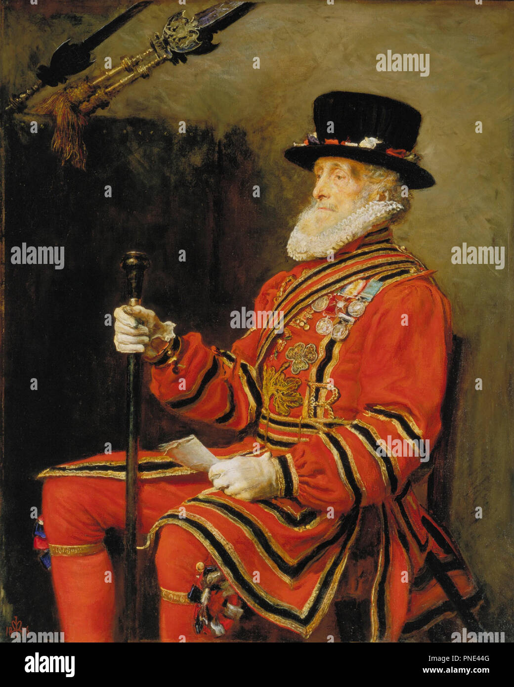 The Yeoman of the Guard. Date/Period: 1876. Painting. Oil on canvas. Height: 139.7 cm (55 in); Width: 111.8 cm (44 in). Author: JOHN EVERETT MILLAIS. MILLAIS, SIR JOHN EVERETT. Stock Photo