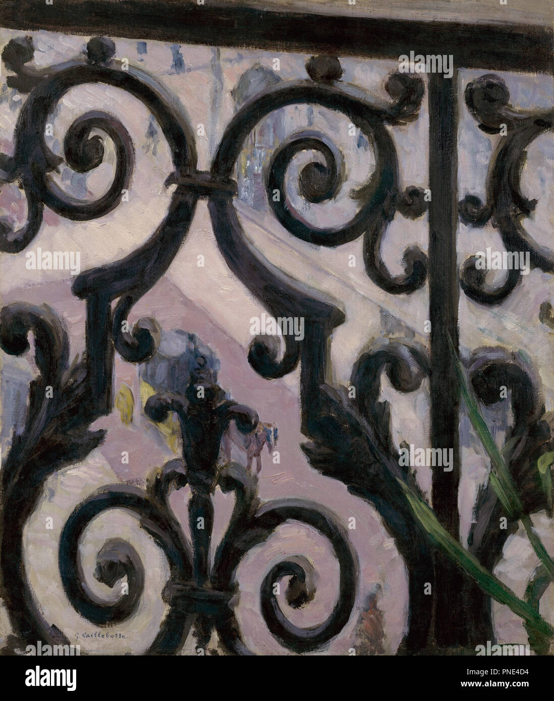 View from a balcony. Date/Period: 1880. Painting. Oil on canvas. Author: Gustave Caillebotte. CAILLEBOTTE, GUSTAVE. - Stock Image