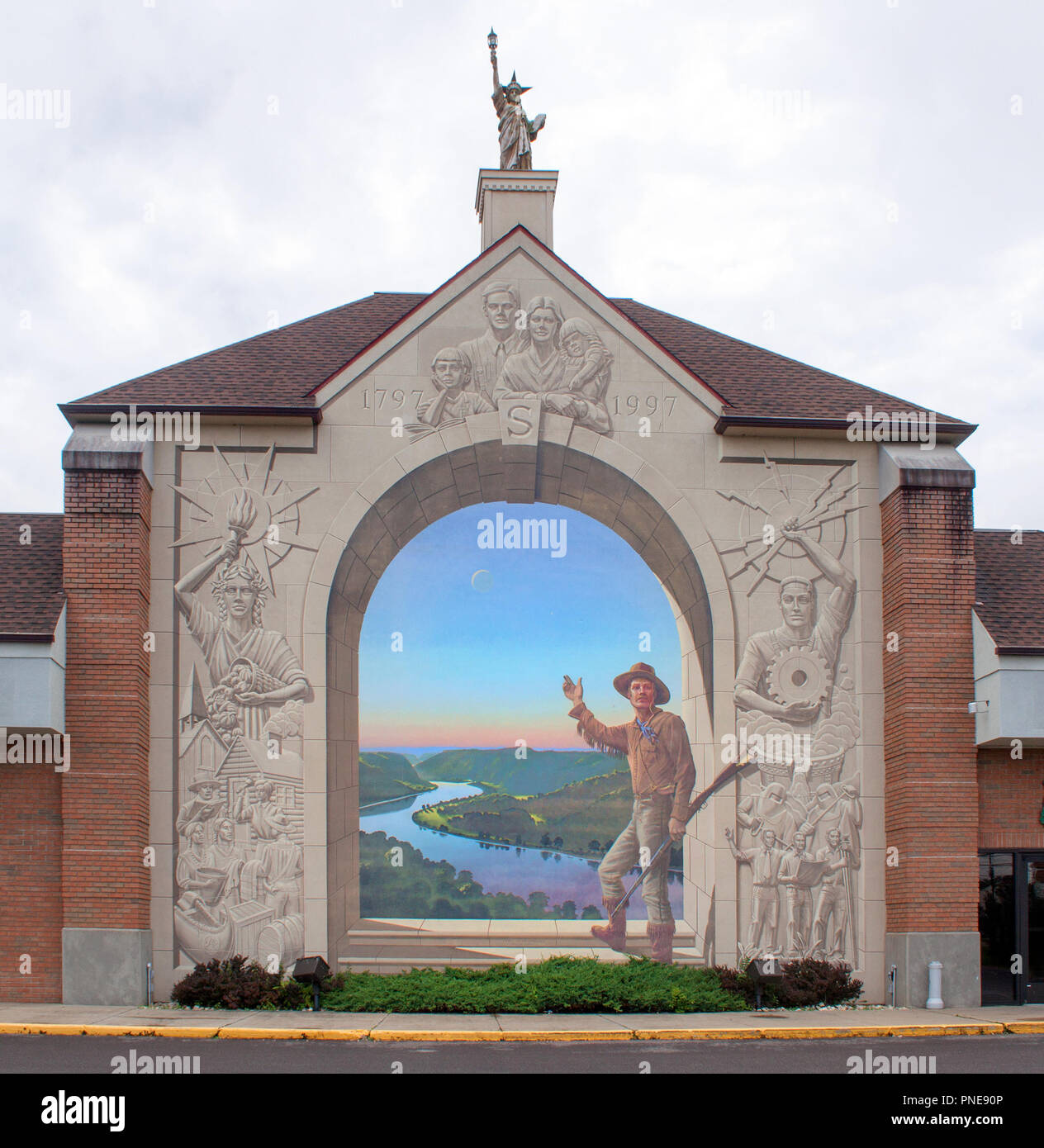 Pioneer Days Mural in Steubenville, Ohio - Stock Image