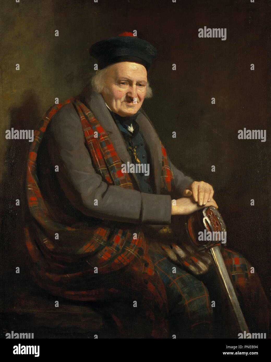 Patrick Grant [Pàdraig Grannd an Dubh-bhruaich], 1713 / 1714 - 1824. Date/Period: 1822. Painting. Oil on canvas. Height: 1,260 mm (49.60 in); Width: 1,010 mm (39.76 in). Author: Colvin Smith. - Stock Image