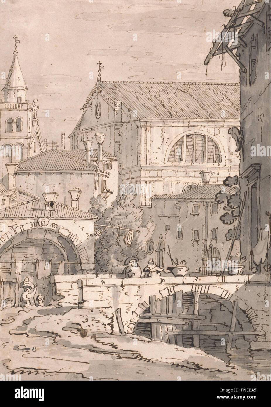 Venetian Fantasy Drawing Pen And Brown Ink Gray Wash And