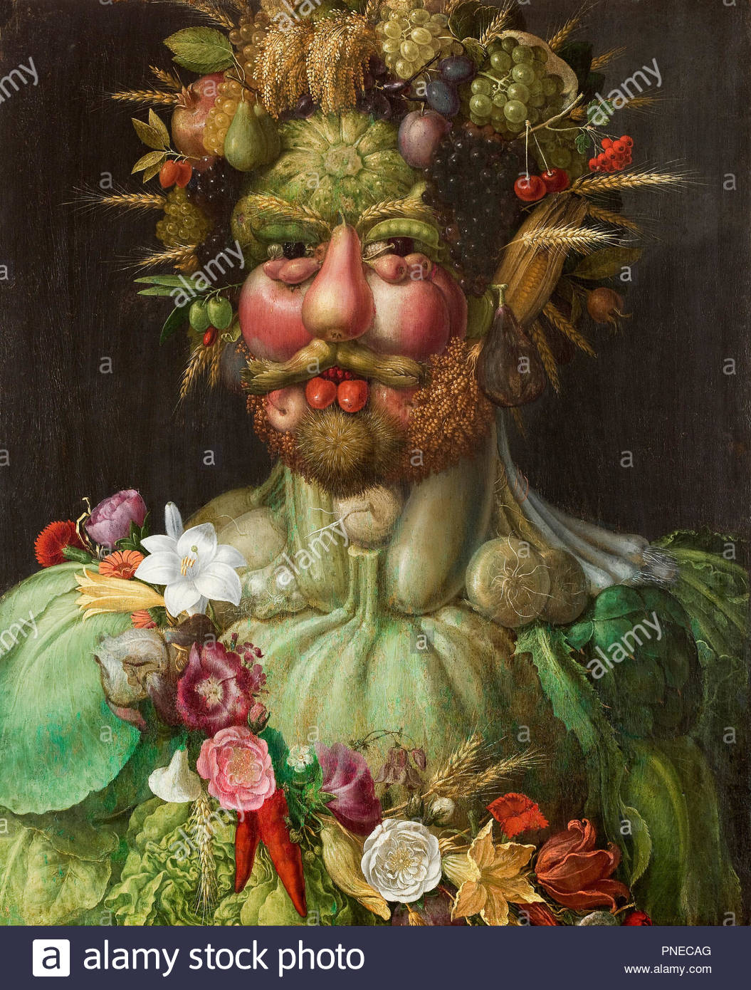 Rudolf II of Hamsburg or Vertumnus. Date/Period: 1590. Drawing. Oil on panel. Height: 680 mm (26.77 in); Width: 560 mm (22.04 in). Author: Giuseppe Arcimboldo. ARCIMBOLDO, GIUSEPPE. - Stock Image