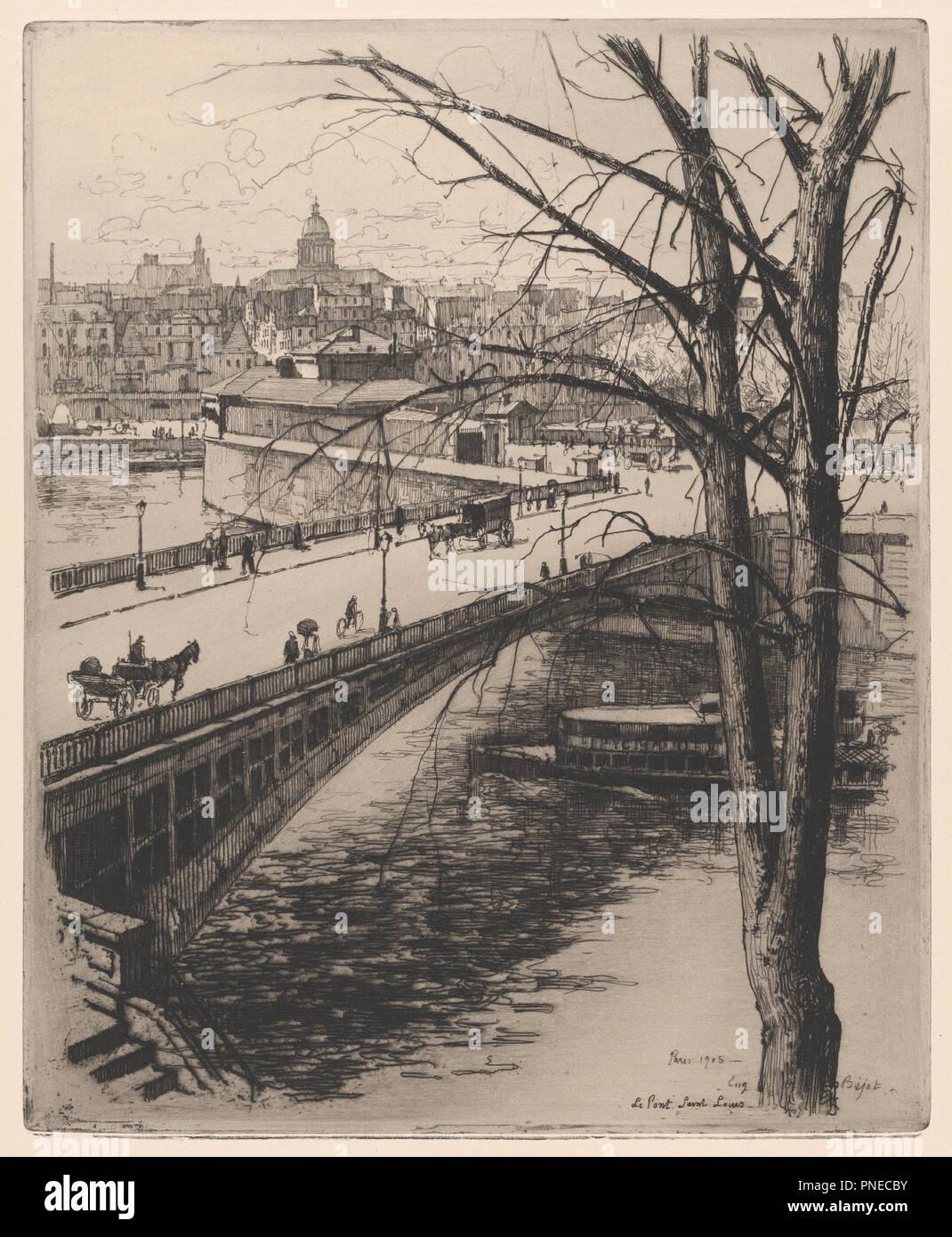 The Pont Saint-Louis, Paris. Artist: Eugène Béjot (French, Paris 1867-1931 Paris). Dimensions: Sheet: 18 15/16 × 13 7/16 in. (48.1 × 34.1 cm)  Plate: 11 7/8 × 9 11/16 in. (30.2 × 24.6 cm). Date: 1905. Museum: Metropolitan Museum of Art, New York, USA. - Stock Image