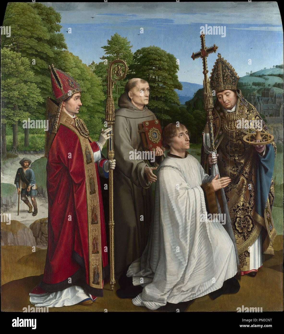 Canon Bernardijn Salviati and Three Saints. Painting. Oil on panel. Height: 103.4 cm (40.7 in); Width: 94.3 cm (37.1 in). Author: Gerard David. - Stock Image