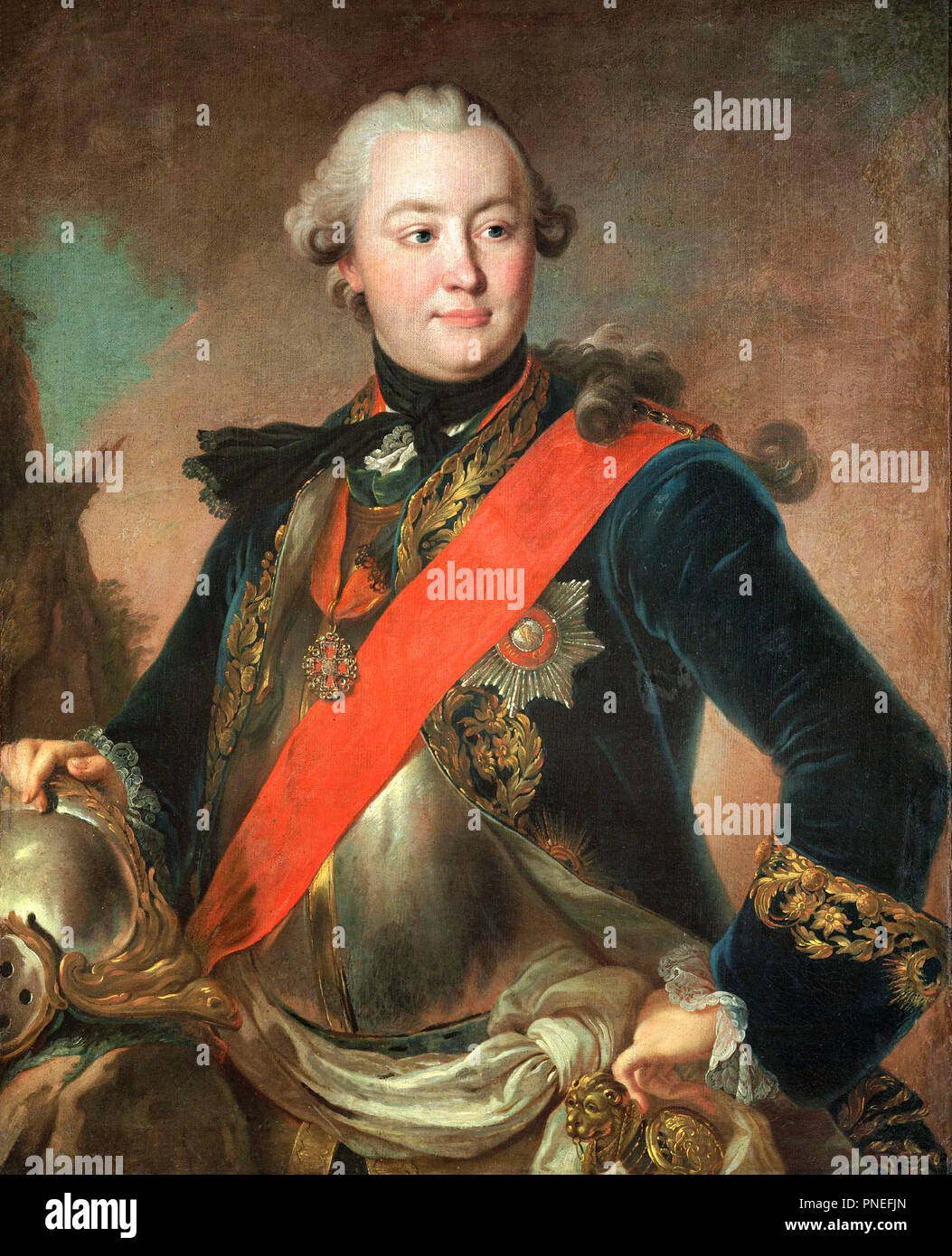 Portrait of Grigory Orlov (1734-1783) - Fyodor Rokotov , circa 1762. Count Grigory Grigoryevich Orlov was the favorite of Empress Catherine the Great of Russia - Stock Image