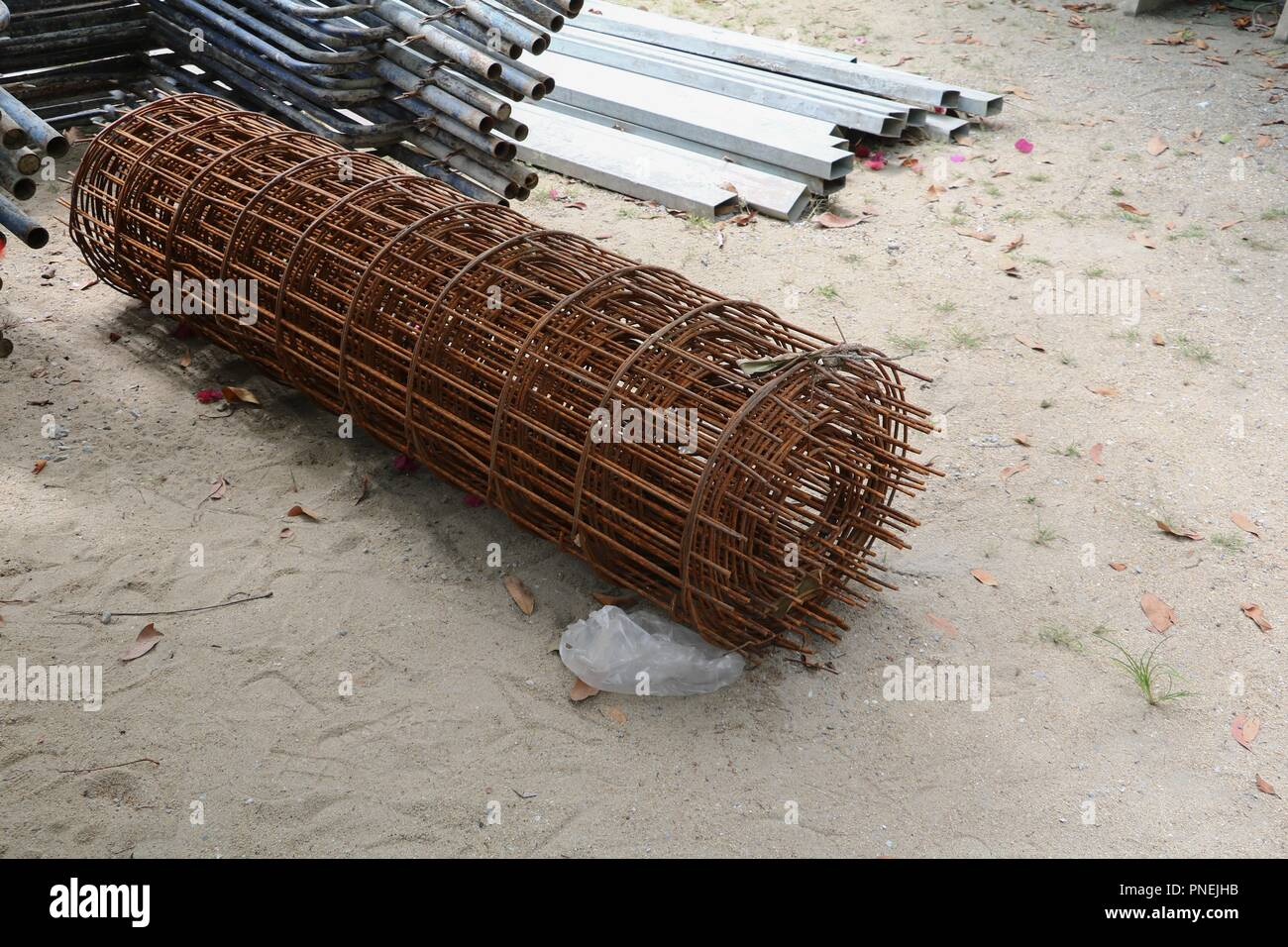 steel post in construction work industry at building site - Stock Image