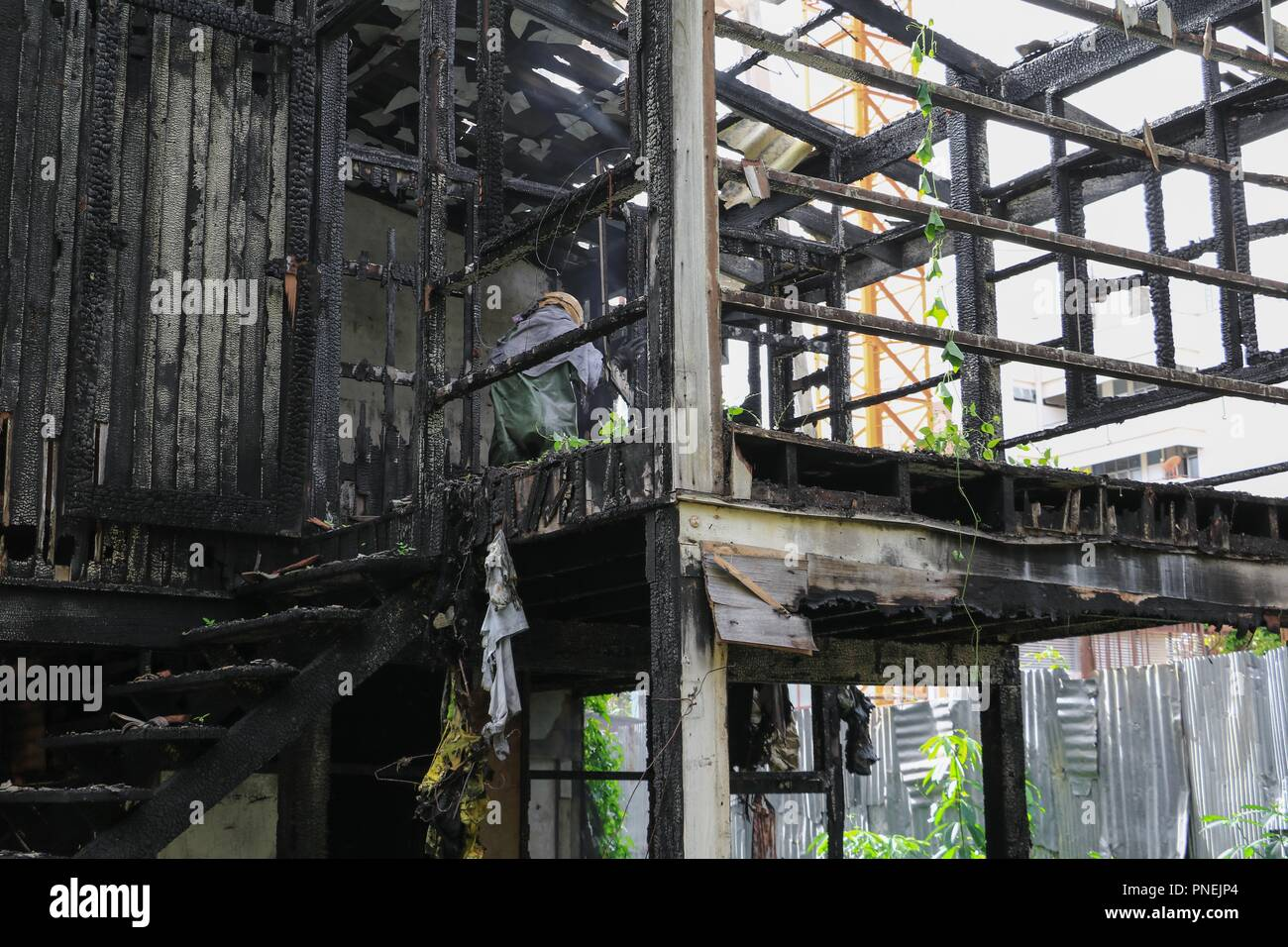 home fire detail images conflagration - Stock Image