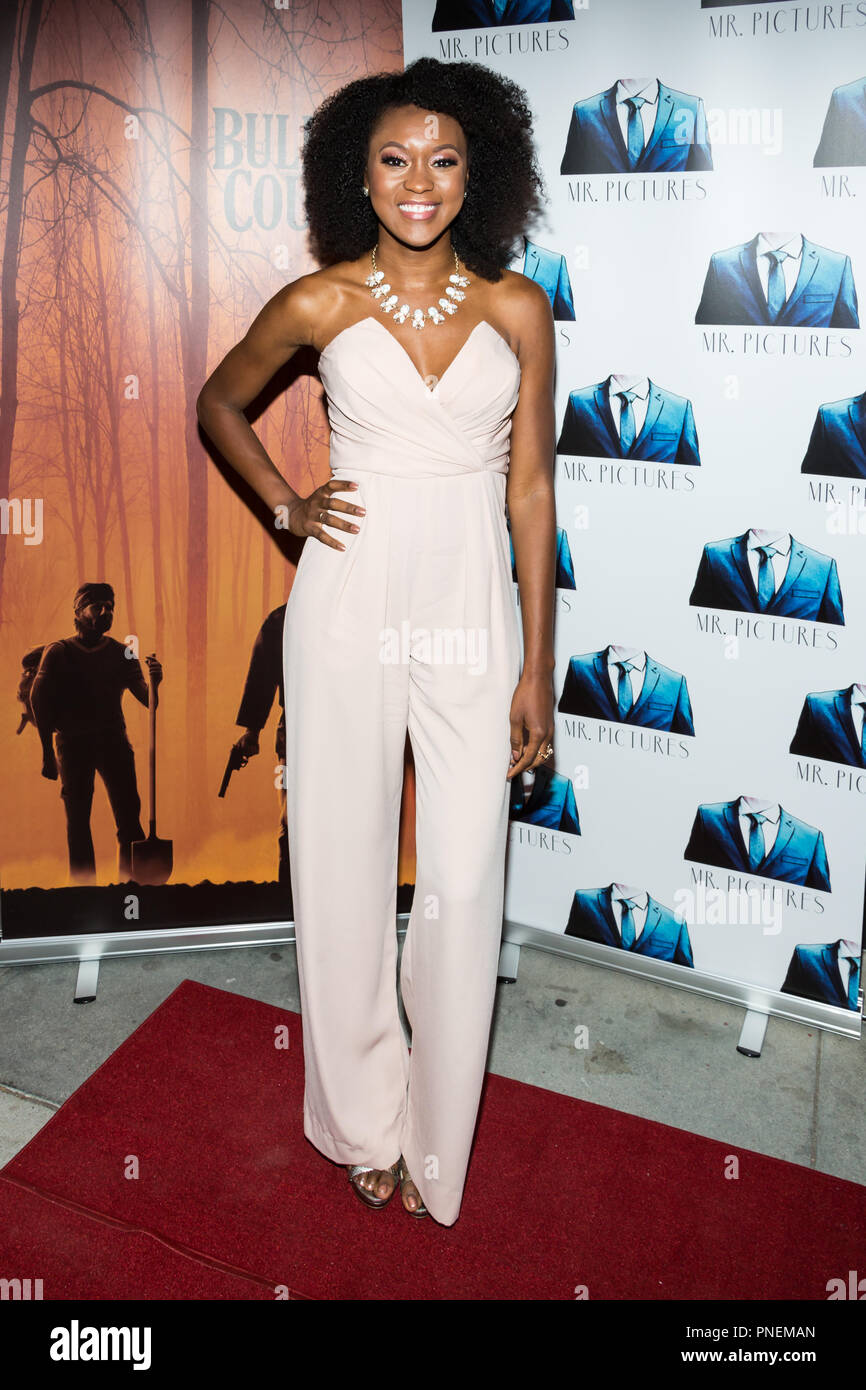Los Angeles, USA. 13 September, 2018. Alysia Livingston attends the special screening of the thriller BULLITT COUNTY at Ahrya Fine Arts Theater. - Stock Image