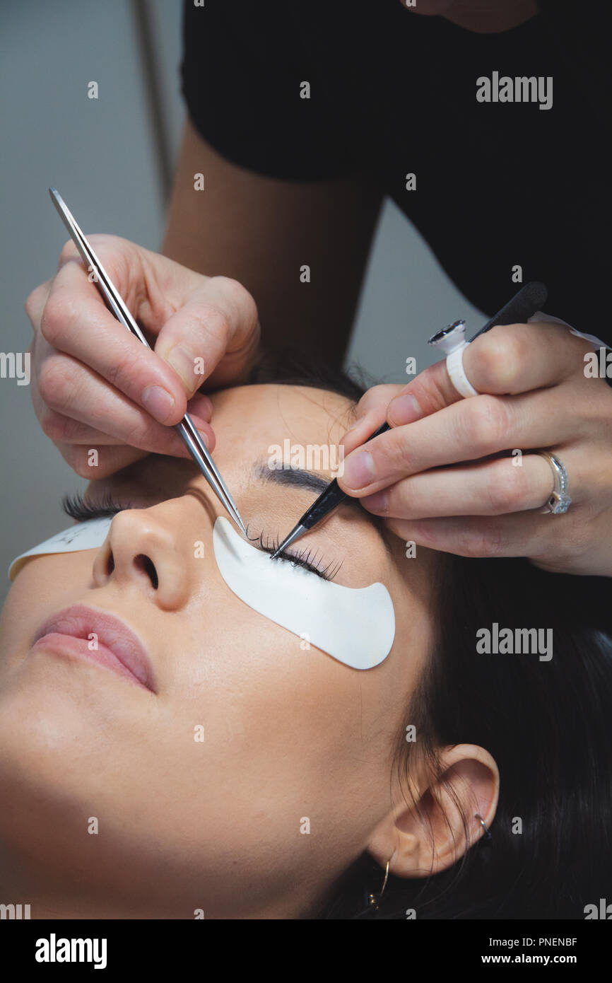 Beauty Technician Putting Eyelashes On Long Eyelashes Eyelashes
