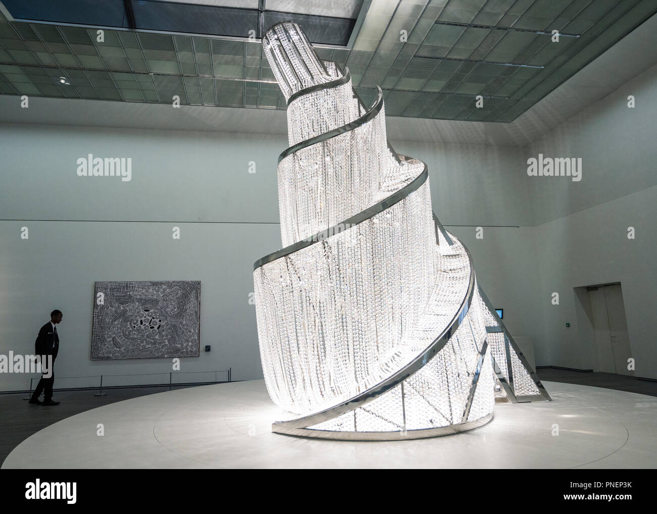 Fountain of Light by Ai Wei wei at Louvre museum Abu Dhabi, United Arab Emirates - Stock Image