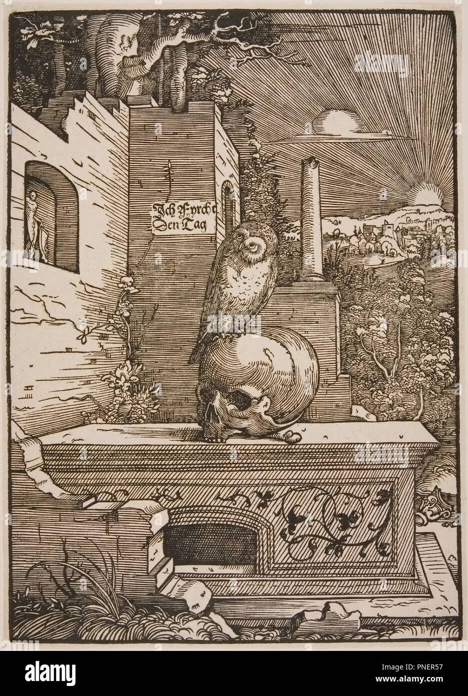 Allegory with an Owl. Date/Period: 16th century. Woodcut. Author: HANS WECHTLIN. - Stock Image
