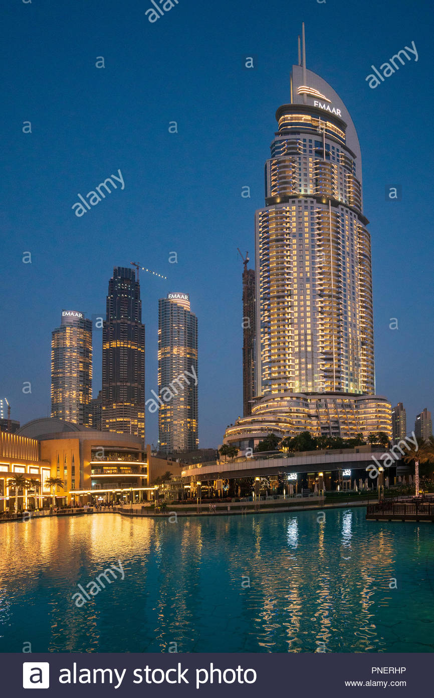 The Address Hotel and apartment towers under construction in the evening in Downtown Dubai, UAE - Stock Image