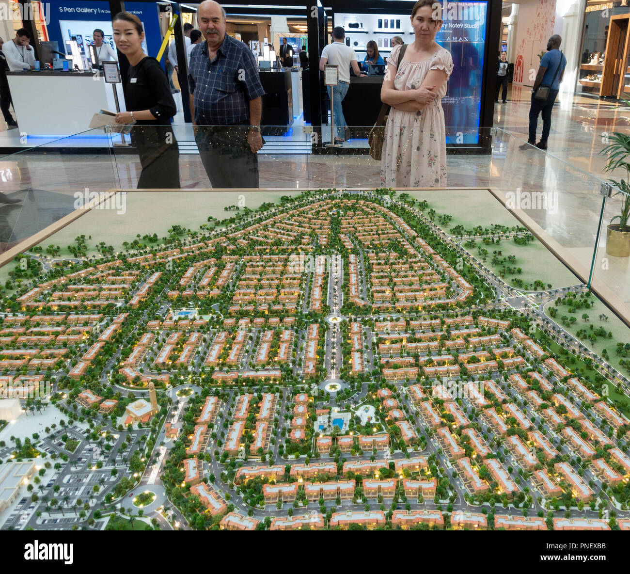Model of proposed new property development with many villas called Serena in Dubai, UAE Stock Photo