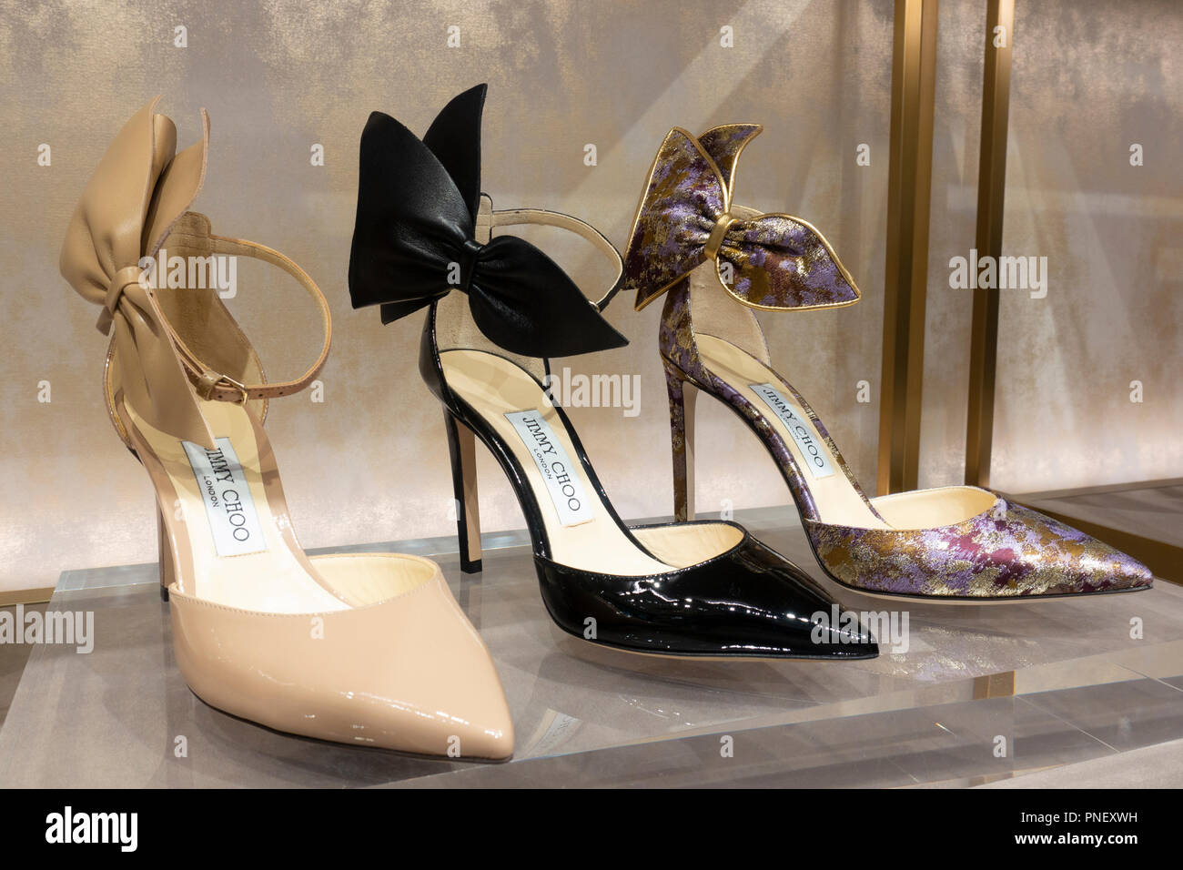 c2f0d980b65 Store Display Of Jimmy Choo Shoes Stock Photos   Store Display Of ...