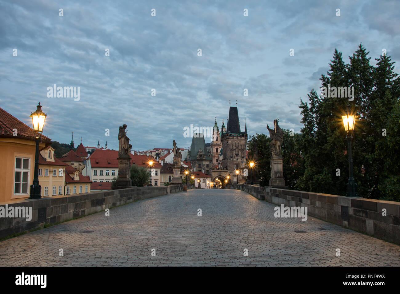 Morning on Charles Bridge in Prague, Czech Republic - Stock Image