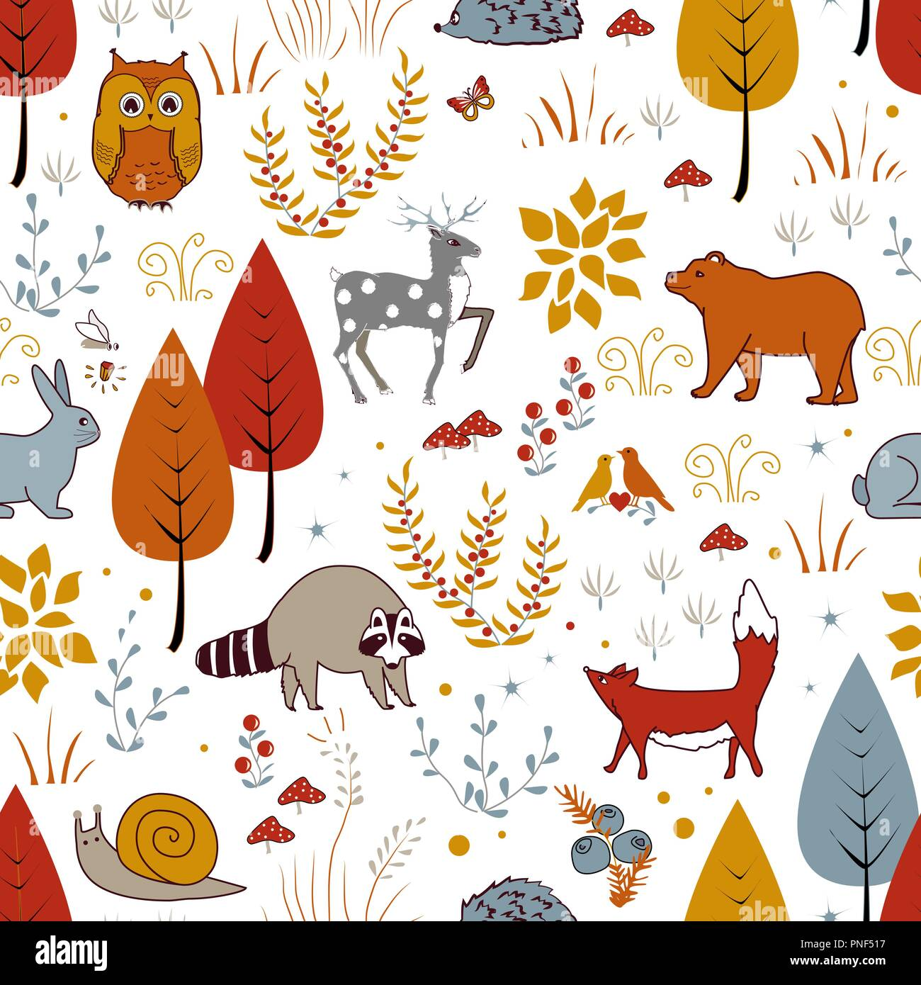 Cute Vector Seamless Pattern With Forest Plants Birds Bear Deer Raccoon And Fox Kids Autumn Background Vector Illustration Stock Vector Image Art Alamy