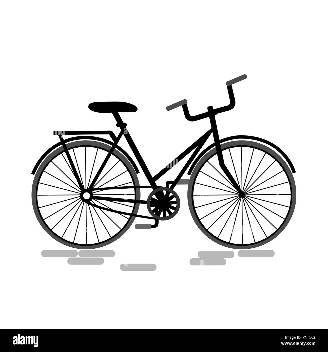 Bicycle illustration. Bike vector icon. Grey and blacvk palette - Stock Image