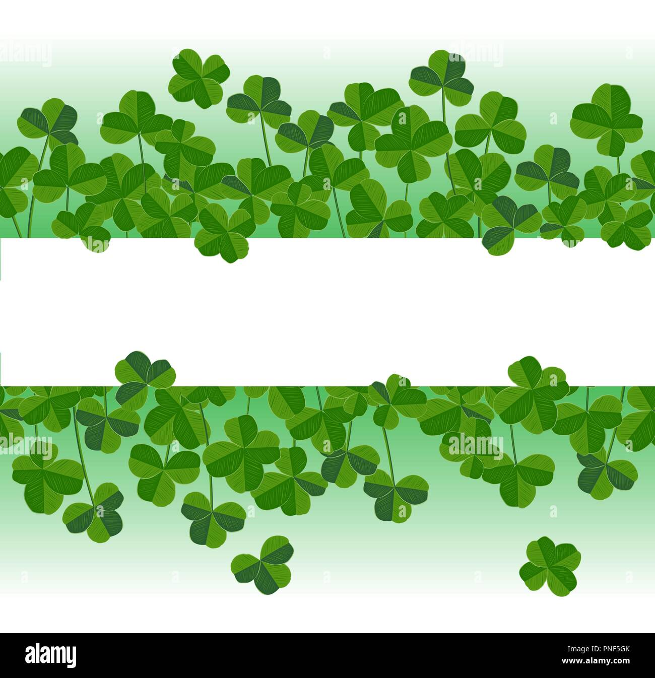St Patricks Day Vector Horizontal Background With Shamrock Leaves
