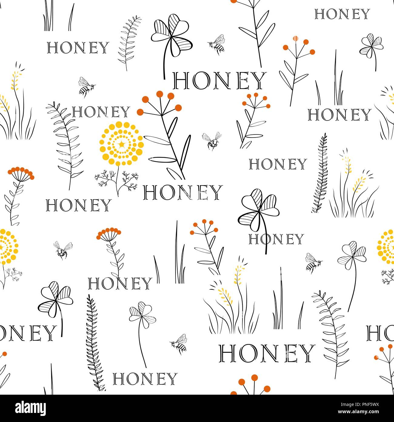 Seamless vector pattern with bees and flowers. Hand drawn vintage graphic doodle design. Sketch pattern for print on fabric. Vector illustration. Endl - Stock Image
