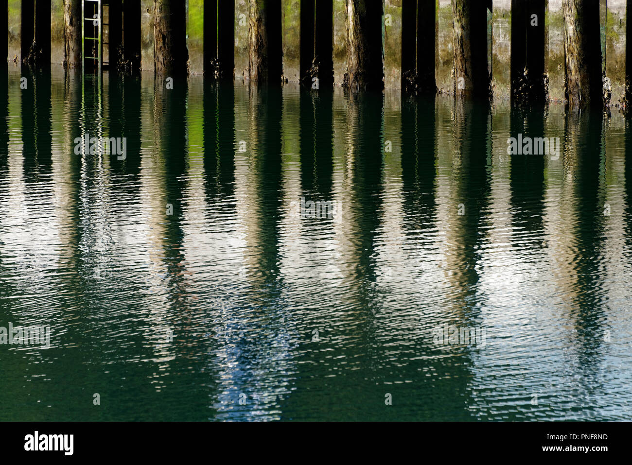 A reflection of posts in the sea, where the real world meets its reflection. - Stock Image