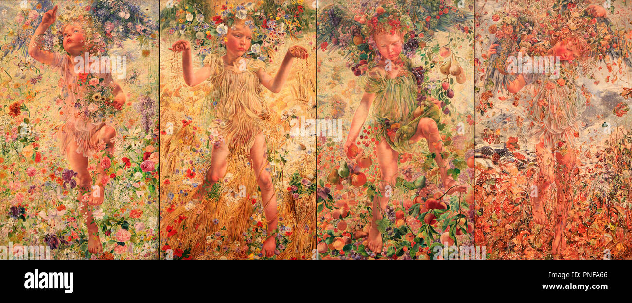 Painted oil canvas by Leon Frederic of Spring, Summer, Autumn and Winter during 1893-1894 period. The four seasons are represented by a child surround - Stock Image