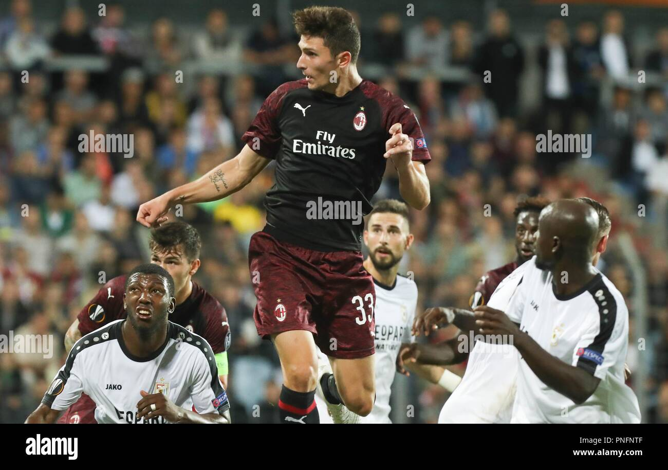 Dudelange, Luxembourg. 20th Sept 2018. Mattia Caldara (AC Milan) during the UEFA Europa League, Group F football match between F91 Dudelange and AC Milan on September 20, 2018 at Josy Barthel stadium in Dudelange, Luxembourg - Photo Laurent Lairys / DPPI Credit: Laurent Lairys/Agence Locevaphotos/Alamy Live News - Stock Image