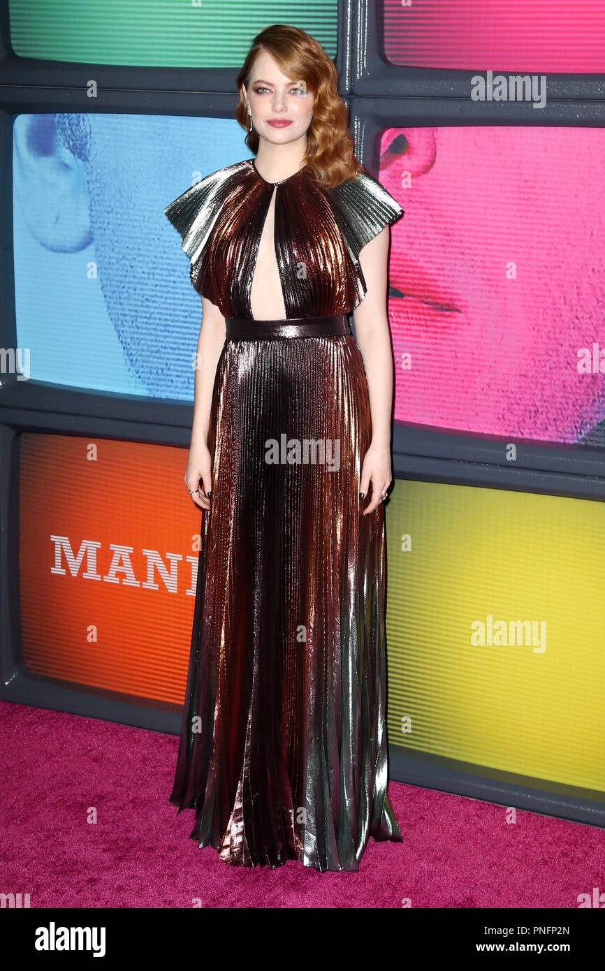 New York, USA. 20th Sep, 2018. Emma Stone at the premiere of the Netflix miniseries 'Maniac' at Center 415. New York, 20.09.2018 | usage worldwide Credit: dpa/Alamy Live News - Stock Image