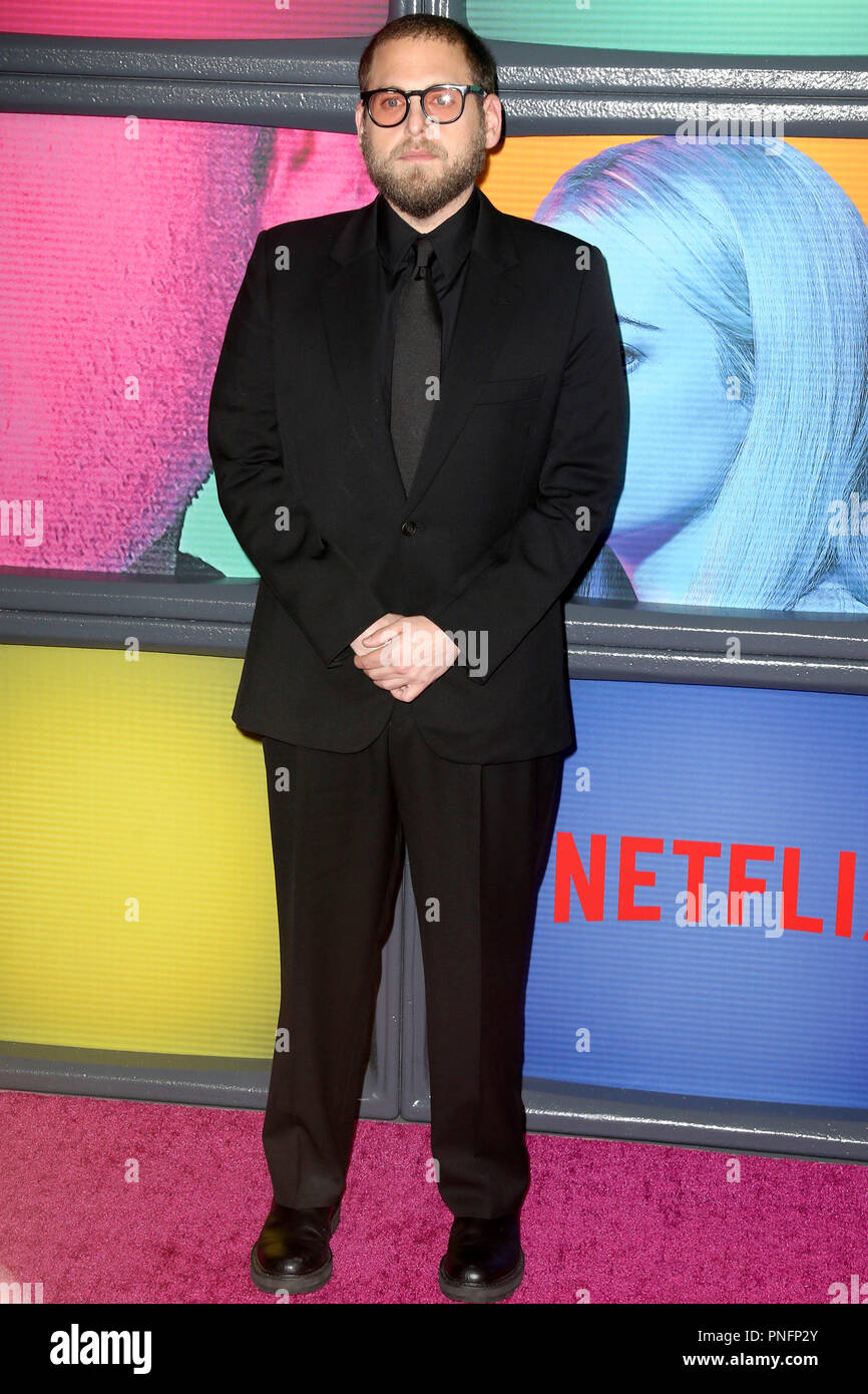 New York, USA. 20th Sep, 2018. Jonah Hill at the premiere of the Netflix miniseries 'Maniac' at Center 415. New York, 20.09.2018 | usage worldwide Credit: dpa/Alamy Live News - Stock Image