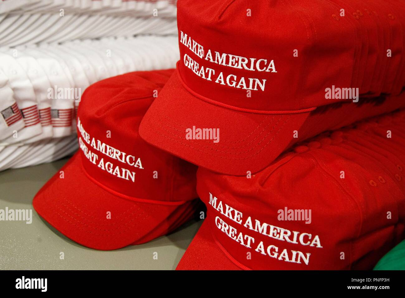 0a7490bf Donald Trump 'Make America Great Again' hats at a public appearance for  President Donald